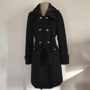 Tahari black wool blend coat, 10